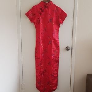 Chinese Red Lace Qipao Cheongsam (旗袍) Dress